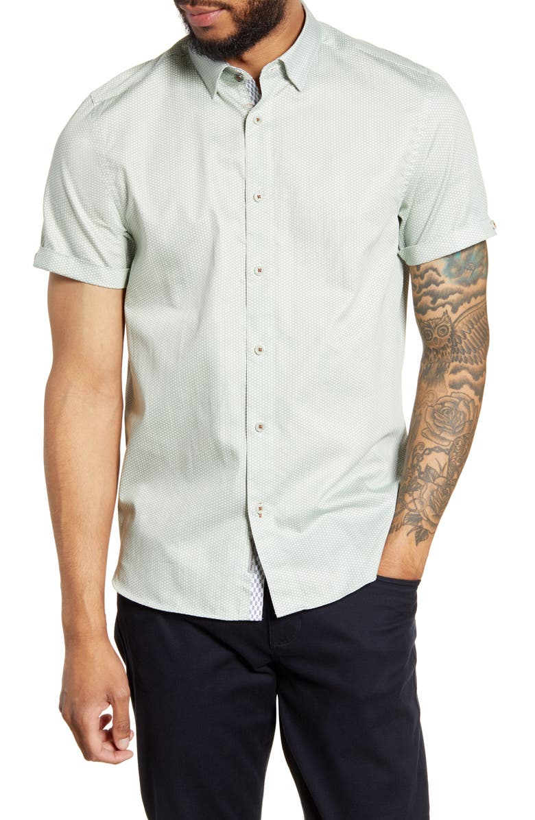 TED BAKER LONDON Mongoo Slim Fit Print Short Sleeve Button-Down Shirt, Main, color, LT-GREEN