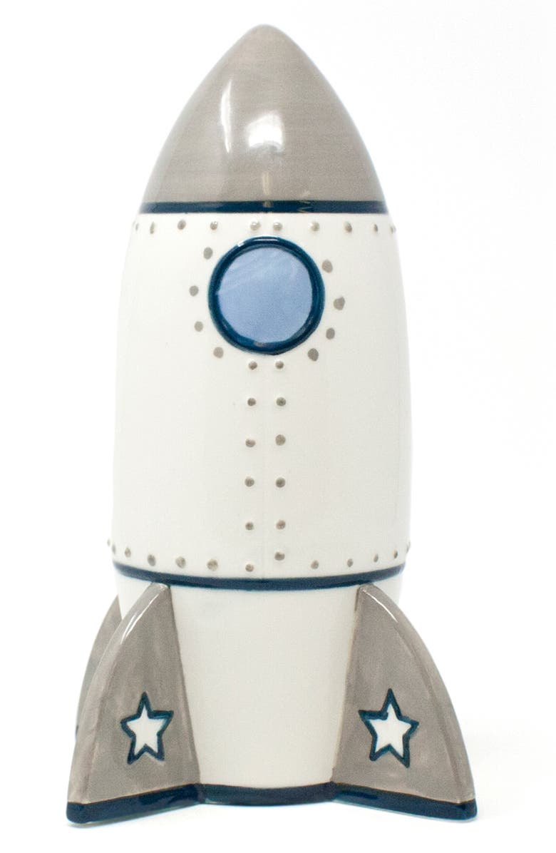 CHILD TO CHERISH Ceramic Rocket Bank, Main, color, GREY/ WHITE