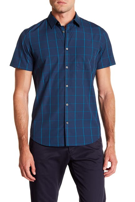Image of Calvin Klein Short Sleeve Windowpane Print Woven Shirt
