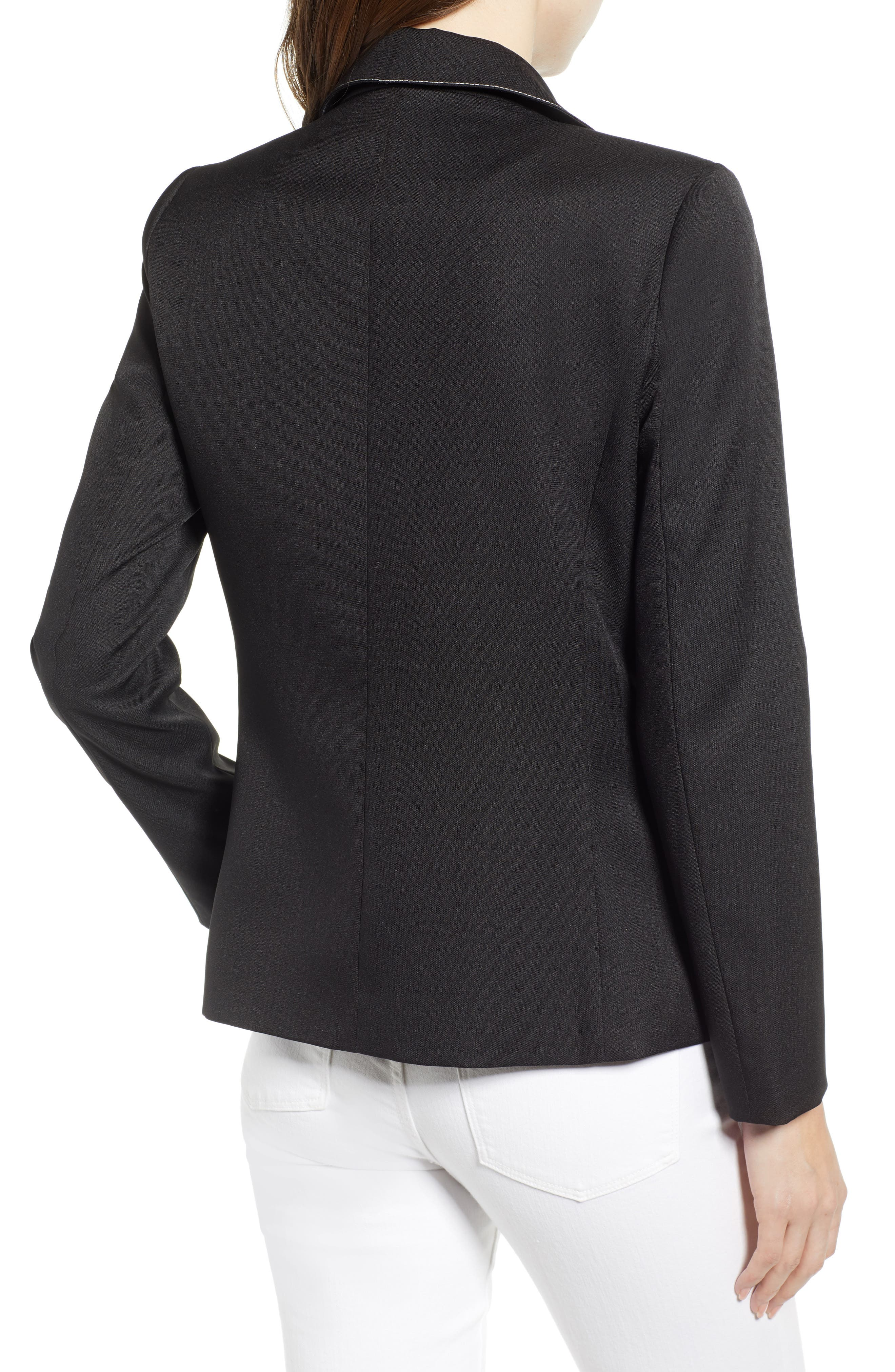 ,                             Contrast Stitch Double Breasted Blazer,                             Alternate thumbnail 2, color,                             BLACK
