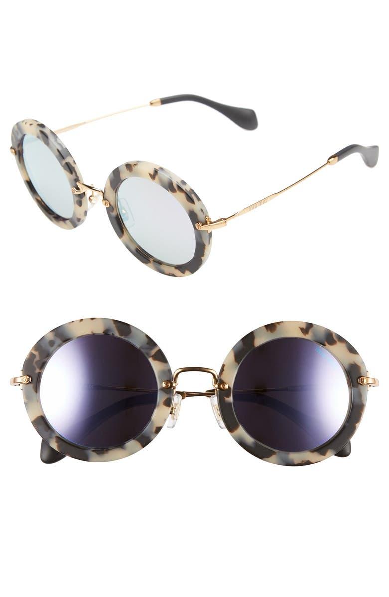 MIU MIU 'Noir' 49mm Round Sunglasses, Main, color, 200
