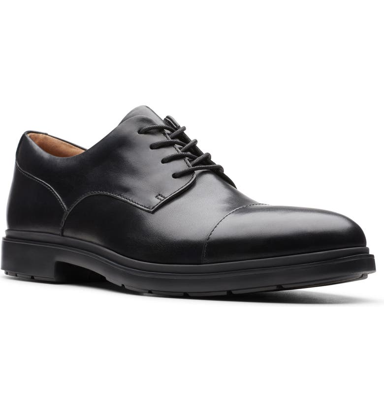 CLARKS<SUP>®</SUP> Un.Tailor Cap Toe Derby, Main, color, BLACK LEATHER