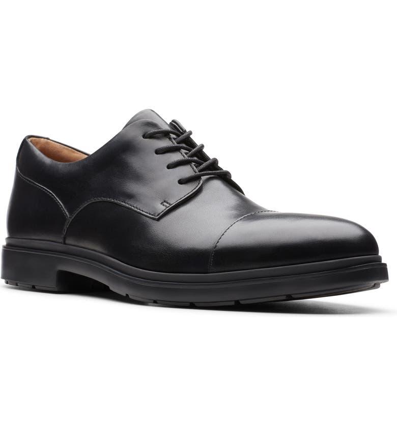 CLARKS<SUP>®</SUP> Un.Tailor Cap Toe Derby, Main, color, BLACK LEATHER
