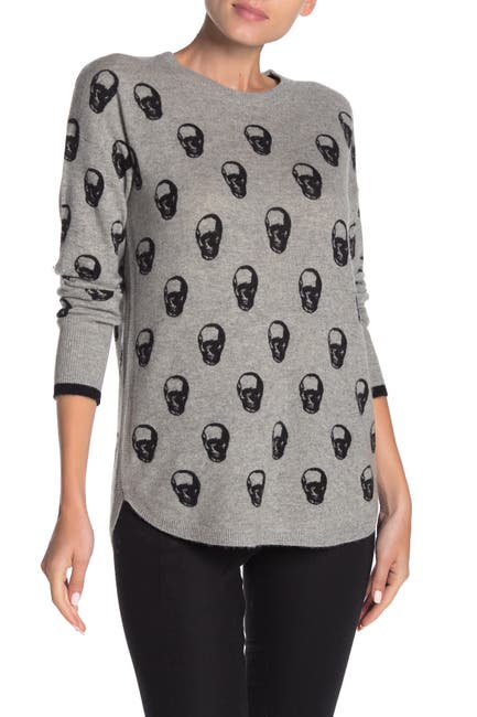 Image of Catherine Catherine Malandrino Skull Printed Cashmere Pullover