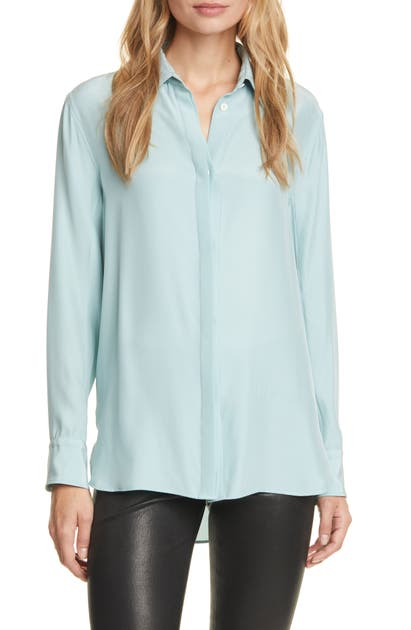 Rag & Bone Anderson Button-down Silk Shirt In Seafoam Blue