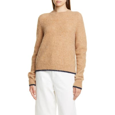 Vince Tipped Alpaca & Merino Wool Blend Crewneck Sweater, Brown