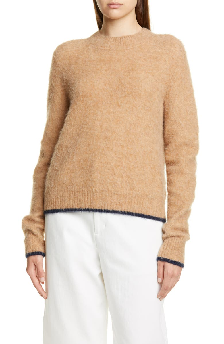 VINCE Tipped Alpaca & Merino Wool Blend Crewneck Sweater, Main, color, CAMEL/ NAVY
