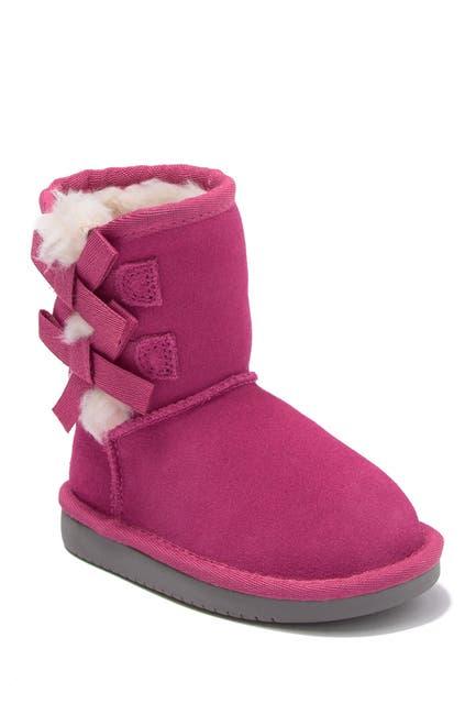 Image of KOOLABURRA BY UGG Victoria Bow Faux Fur & Genuine Sheepskin Trimmed Short Boot