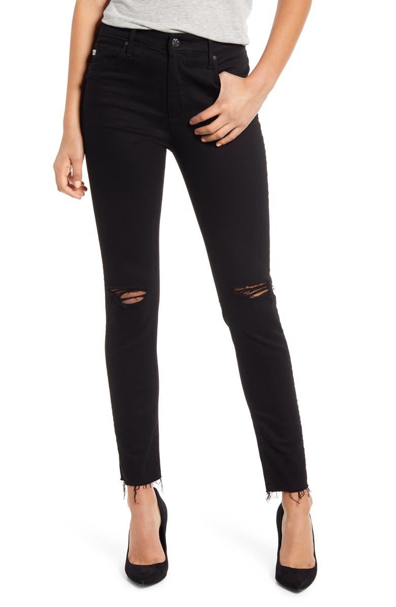 AG The Farrah High Waist Ankle Skinny Jeans, Main, color, 1YR MIDNIGHT BLACK DESTRUCTED