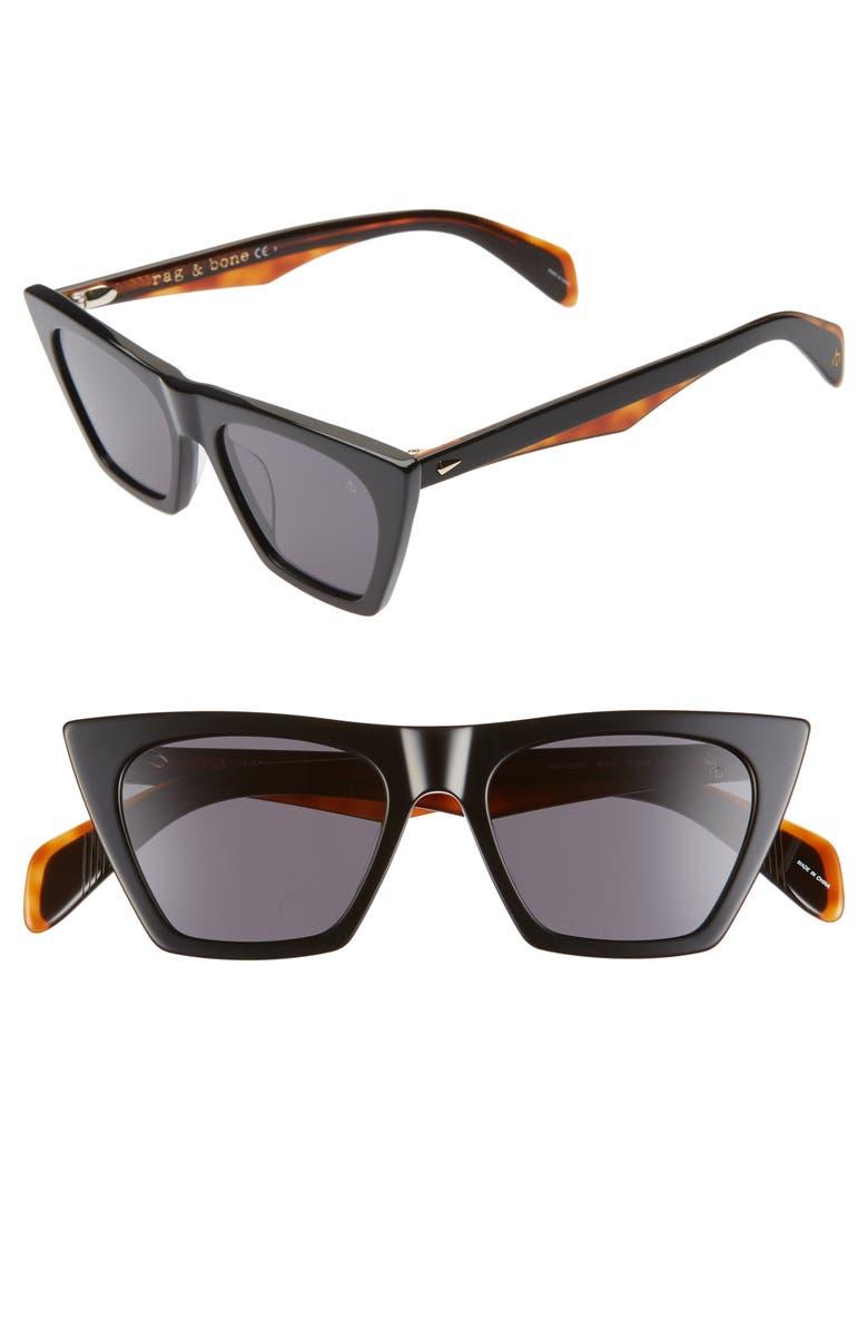 RAG & BONE 51mm Cat Eye Sunglasses, Main, color, BLACK