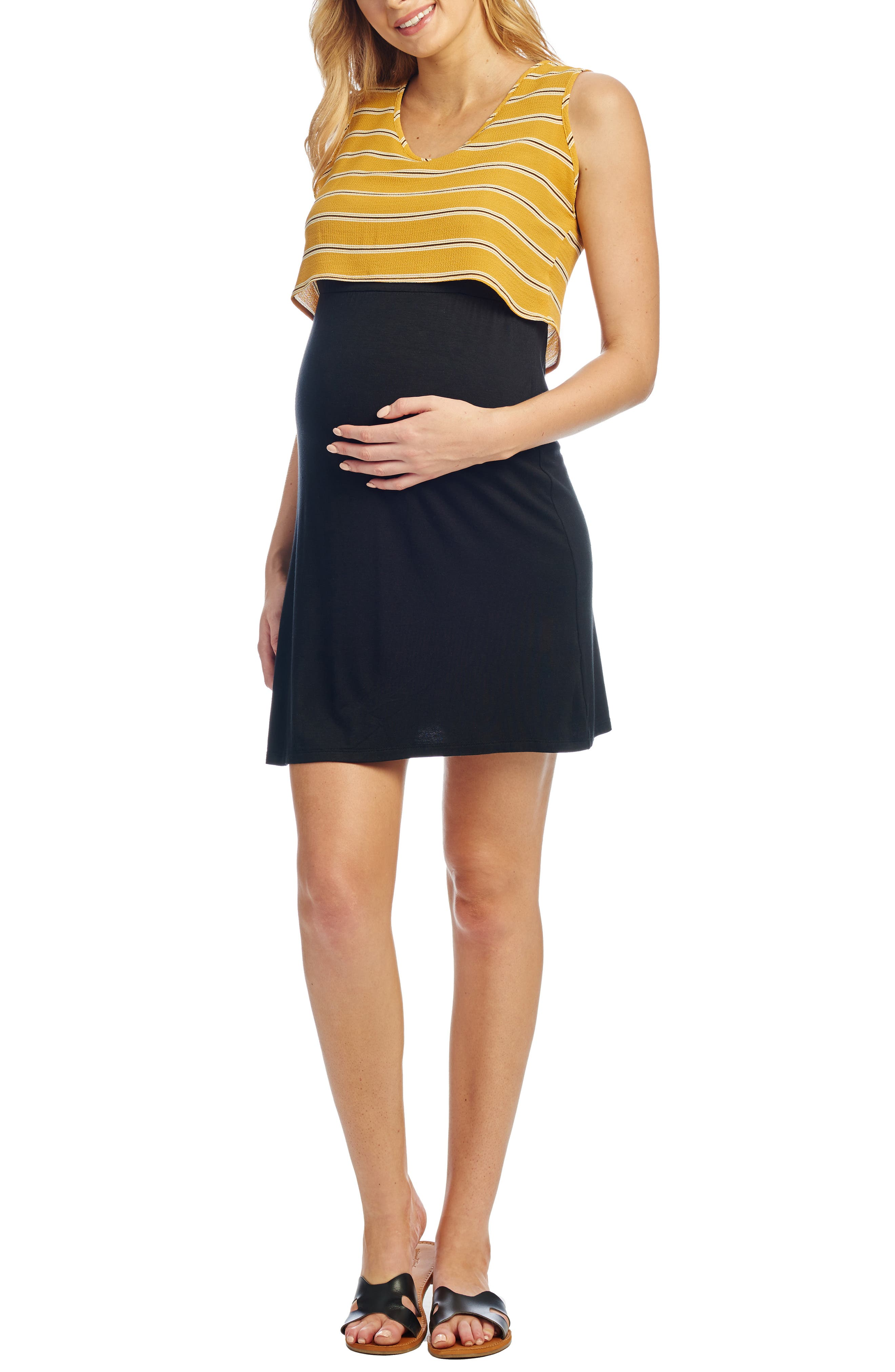 Everly Grey Mahina Maternity/nursing Tank Dress, Yellow