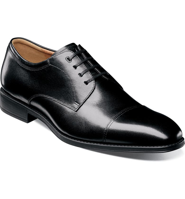 FLORSHEIM Cardineli Cap Toe Derby, Main, color, BLACK LEATHER