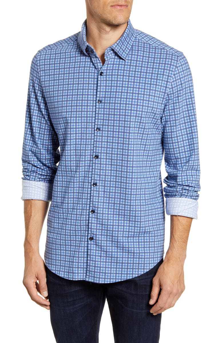 STONE ROSE Regular Fit Check Button-Up Performance Shirt, Main, color, 400