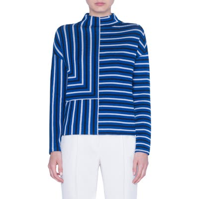 Akris Punto Square Stripe Jacquard Merino Wool Sweater, Blue