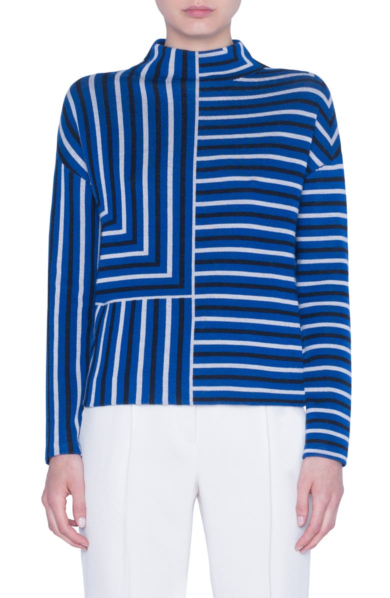 AKRIS PUNTO Square Stripe Jacquard Merino Wool Sweater, Main, color, LAKE/ DESERT/ BLACK