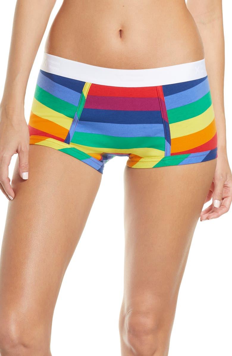 TOMBOYX Rainbow Pride Boy Shorts, Main, color, 600