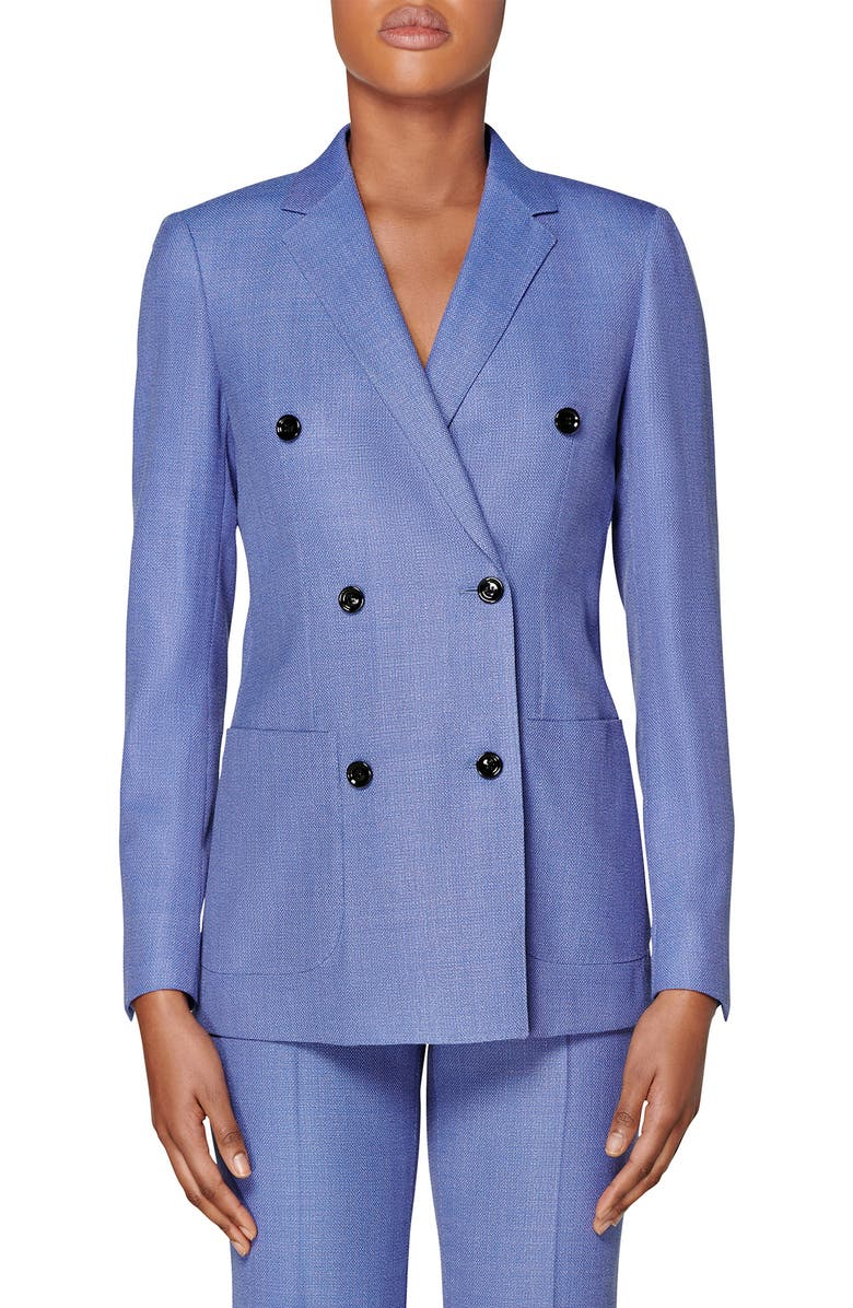 SUISTUDIO Double Breasted Wool Jacket, Main, color, BLUE
