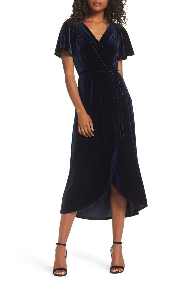 CHELSEA28 Velvet Faux Wrap Midi Dress, Main, color, NAVY BLAZER