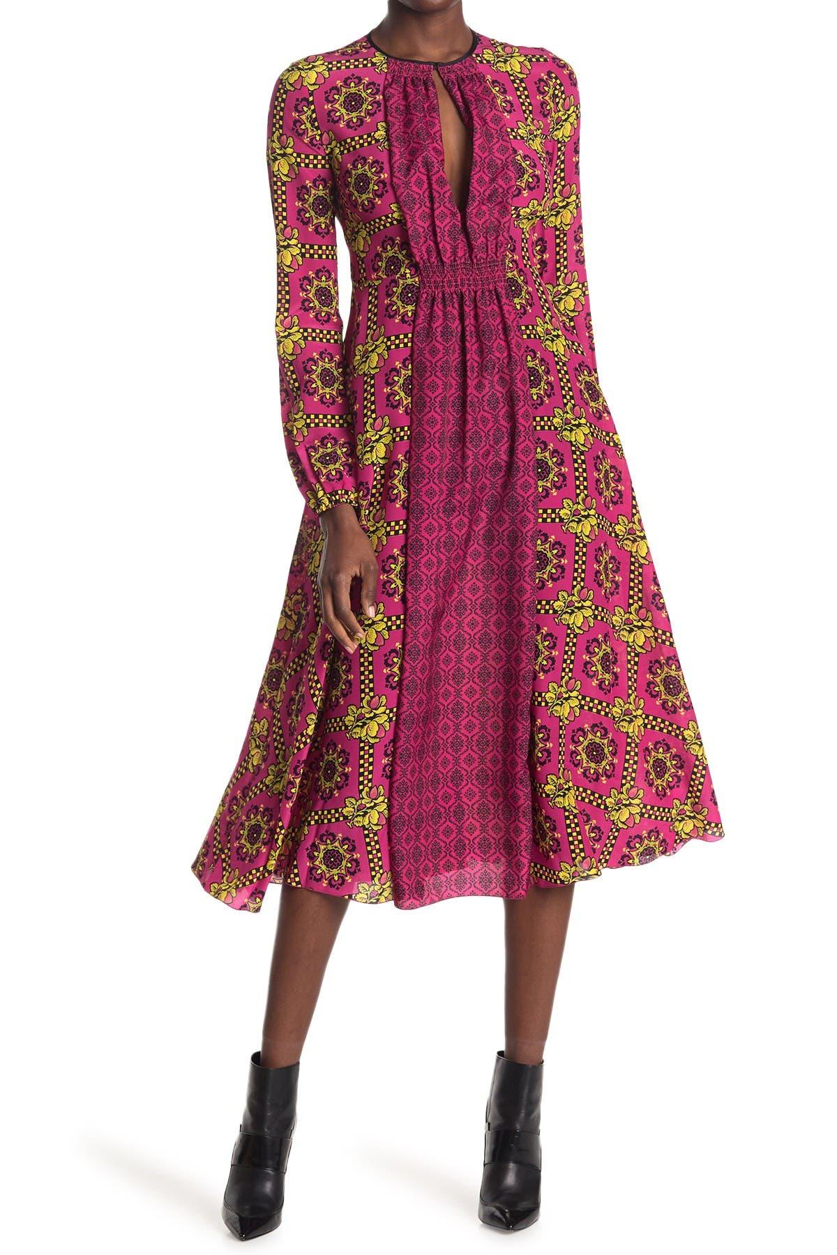 Image of RED Valentino Floral Print Silk Midi Dress