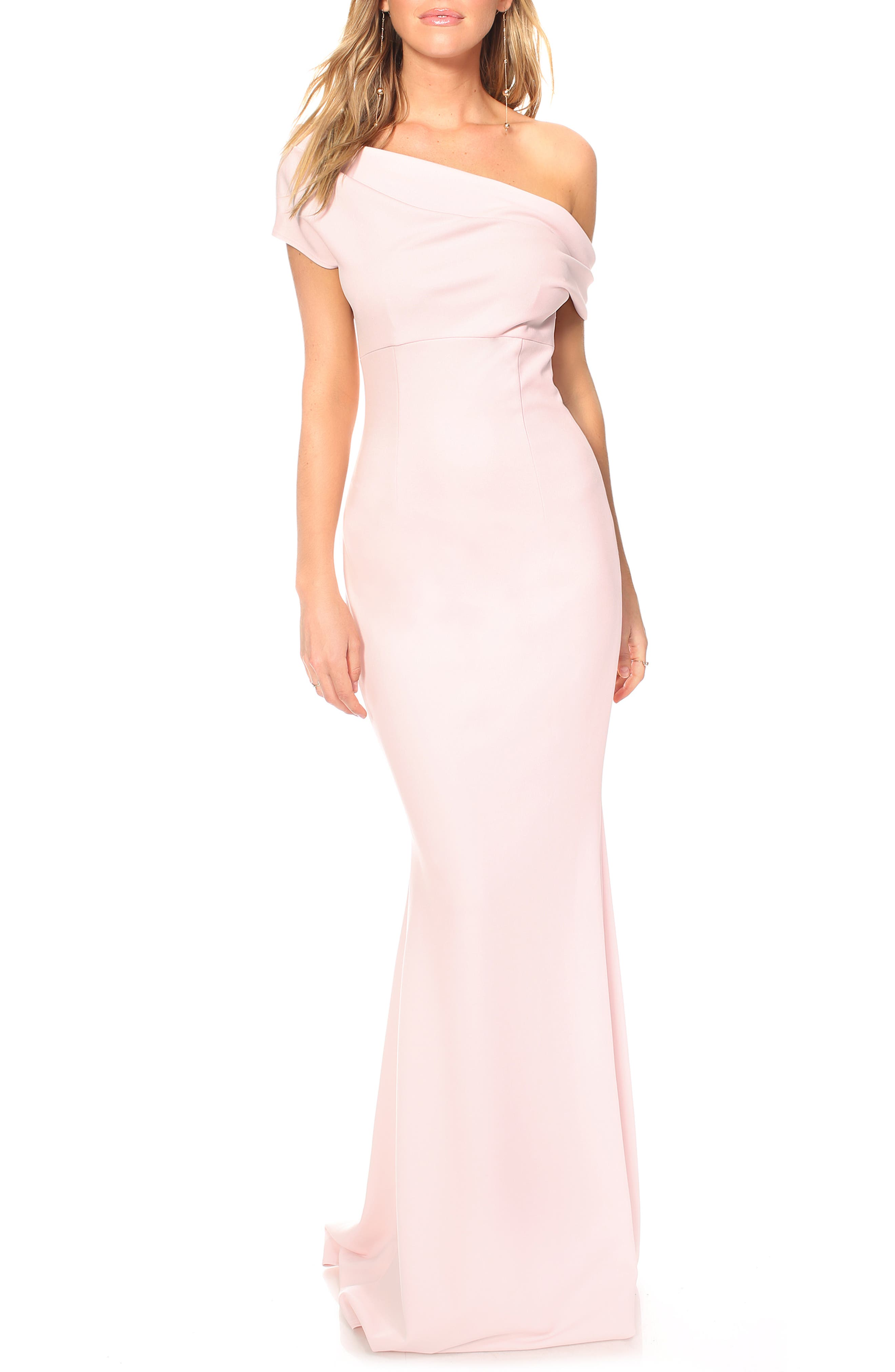 Katie May Hannah One-Shoulder Crepe Trumpet Gown, Pink