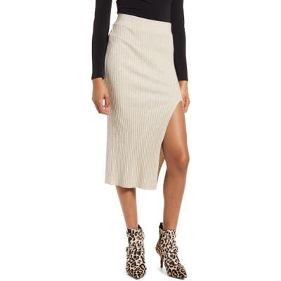 Leith Ribbed Side Slit Knit Skirt