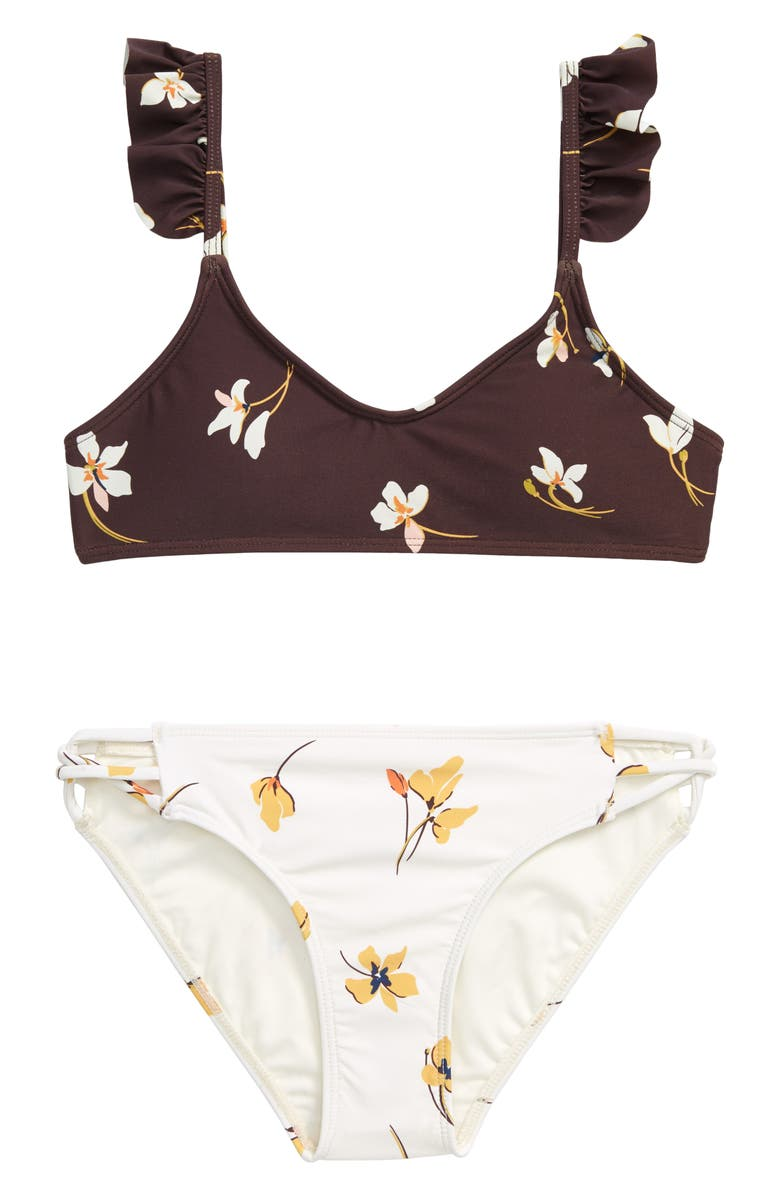 O'NEILL Mai Floral Ruffle Two-Piece Swimsuit, Main, color, VANILLA
