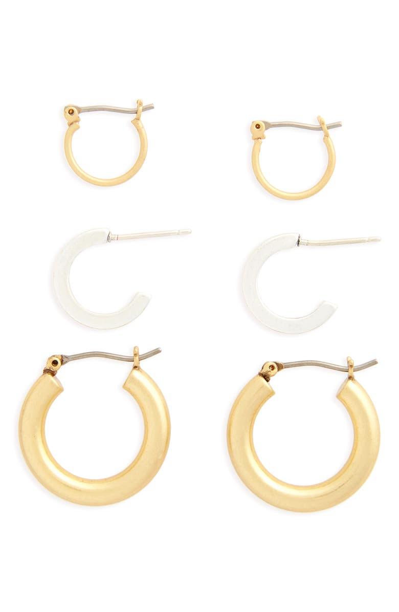 MADEWELL Set of 3 Mini Hoop Earrings, Main, color, 040