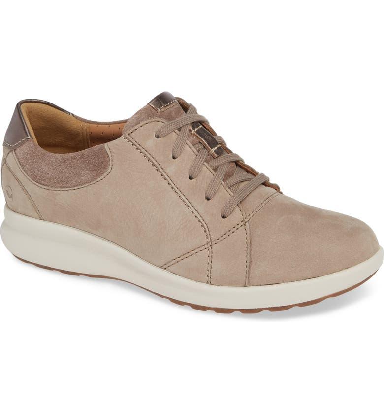 CLARKS<SUP>®</SUP> UnAdorn Lace-Up Sneaker, Main, color, PEBBLE NUBUCK