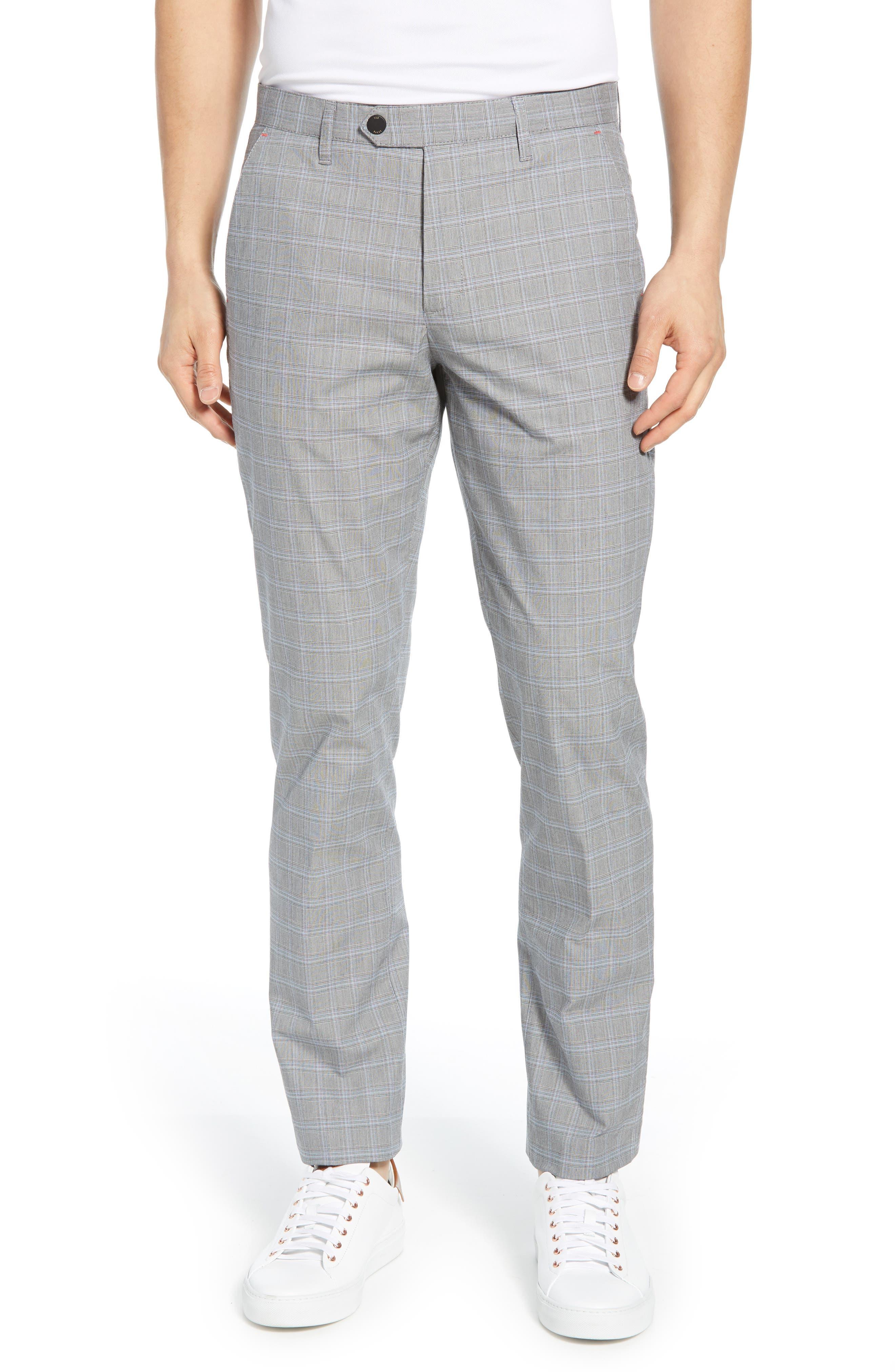 Snoopd Slim Fit Check Golf Pants, Main, color, GREY
