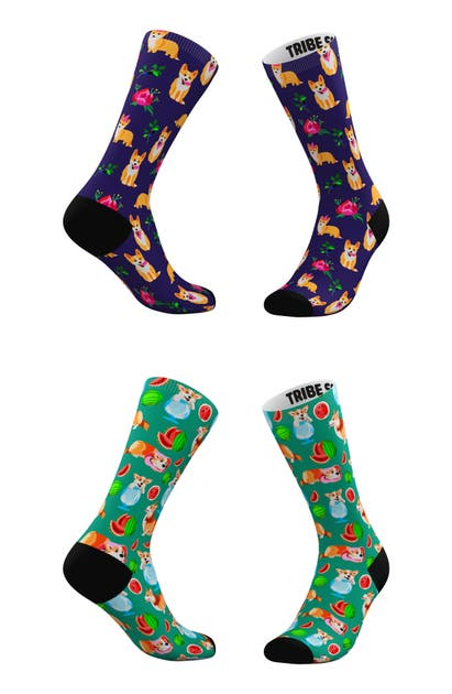 Tribe Socks ASSORTED 2-PACK EVERYTHING'S COMING UP CORGIS CREW SOCKS