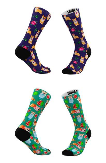 Tribe Socks Socks ASSORTED 2-PACK EVERYTHING'S COMING UP CORGIS CREW SOCKS