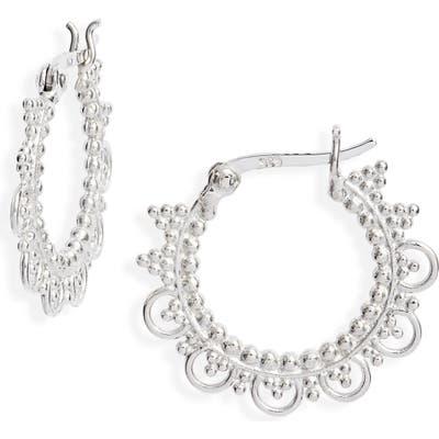 Sterling Forever Open Lace Hoop Earrings