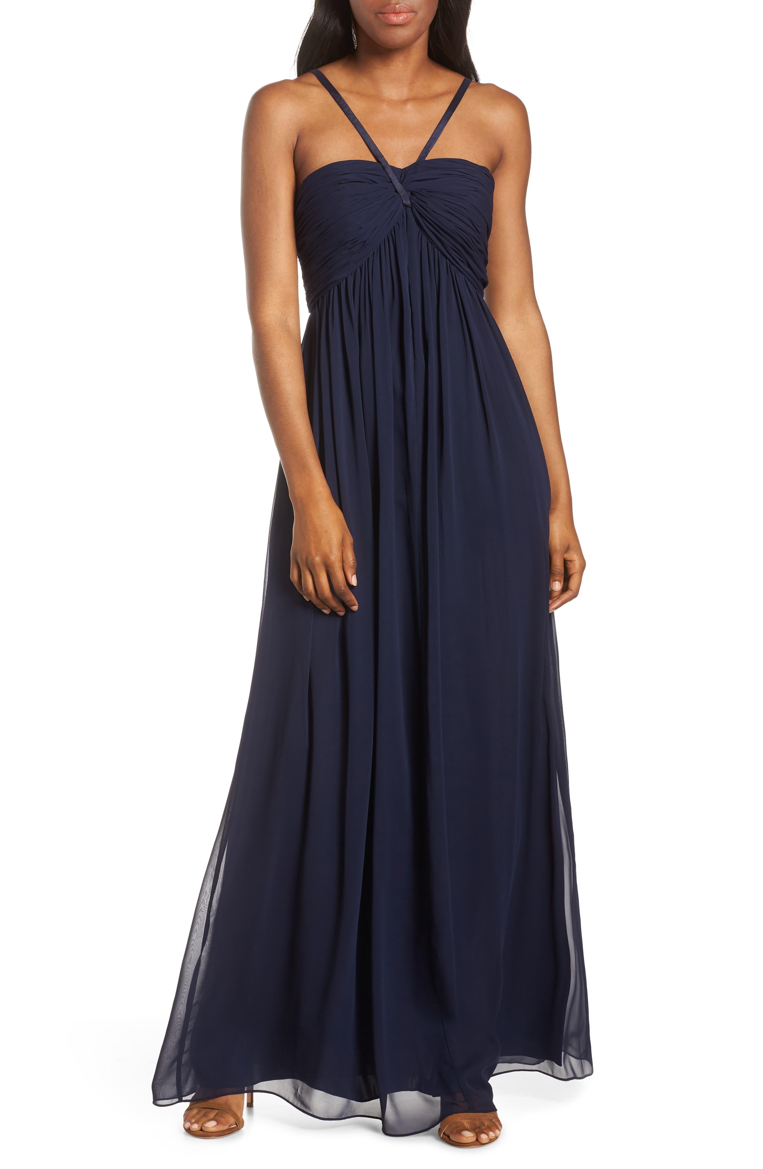Plus Size Eliza J Halter Neck Shirred Chiffon Gown, Blue