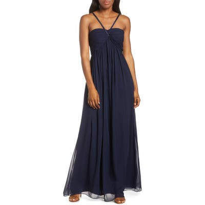 Plus Size Eliza J Halter Neck Shirred Chiffon Gown, Blue