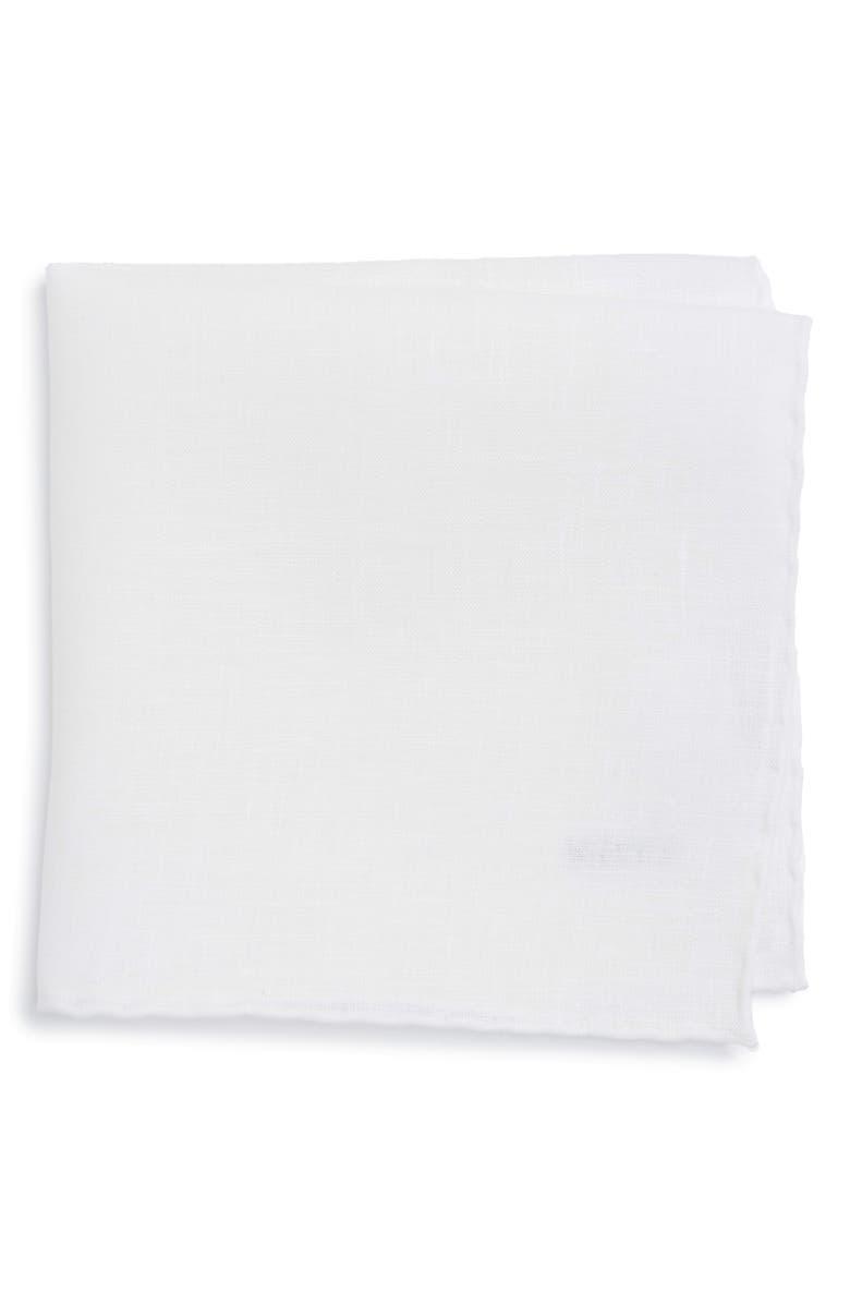 ETON Solid Linen Pocket Square, Main, color, WHITE