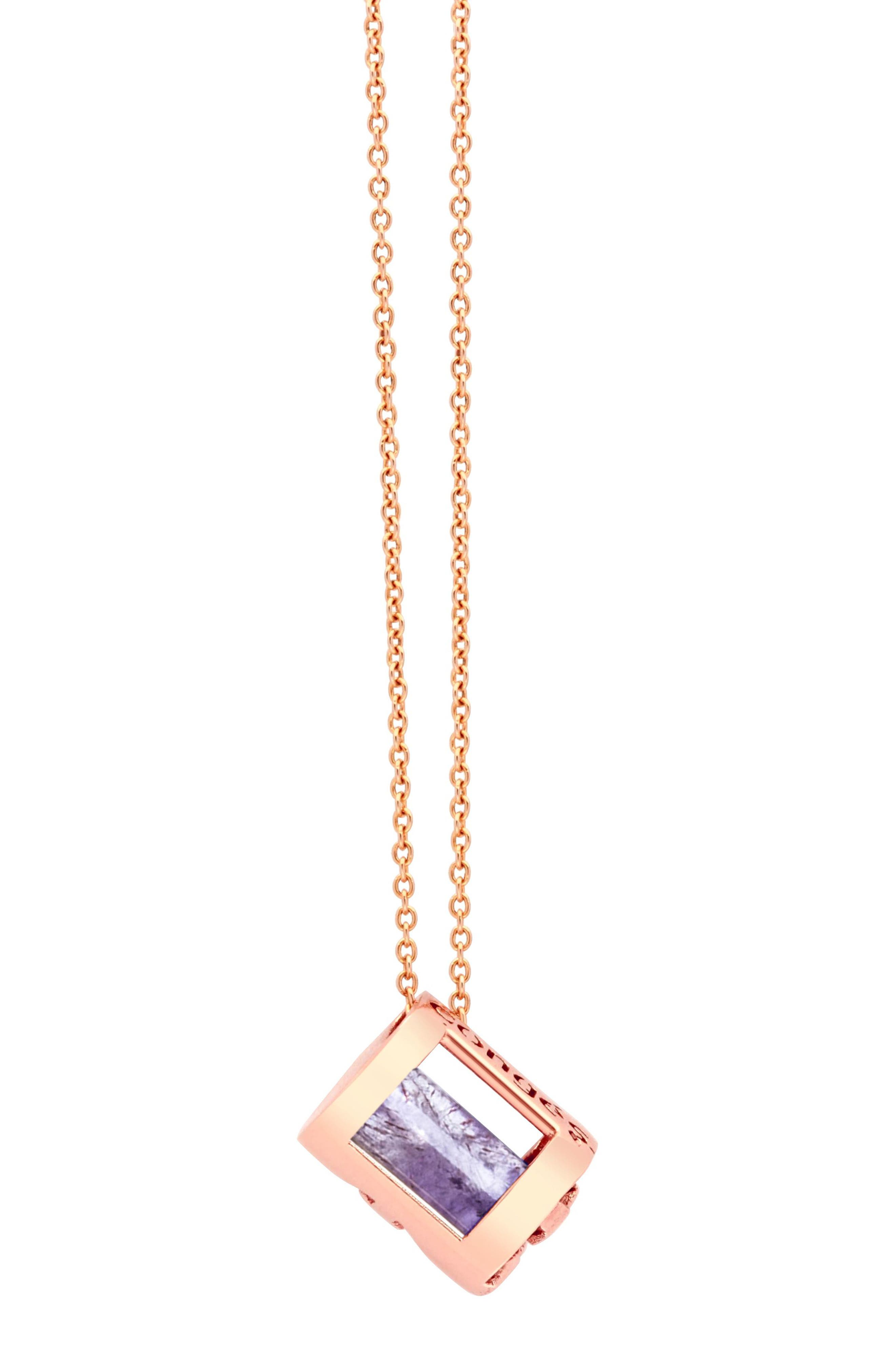 Peace of Mind Amethyst Barrel Initial Necklace, Main, color, ROSE GOLD-A