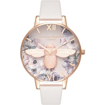 Olivia Burton Watercolor Floral Leather Strap Watch,