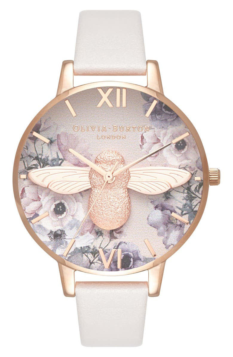 OLIVIA BURTON Watercolor Floral Leather Strap Watch, 38mm, Main, color, BLUSH/ BEE/ ROSE GOLD