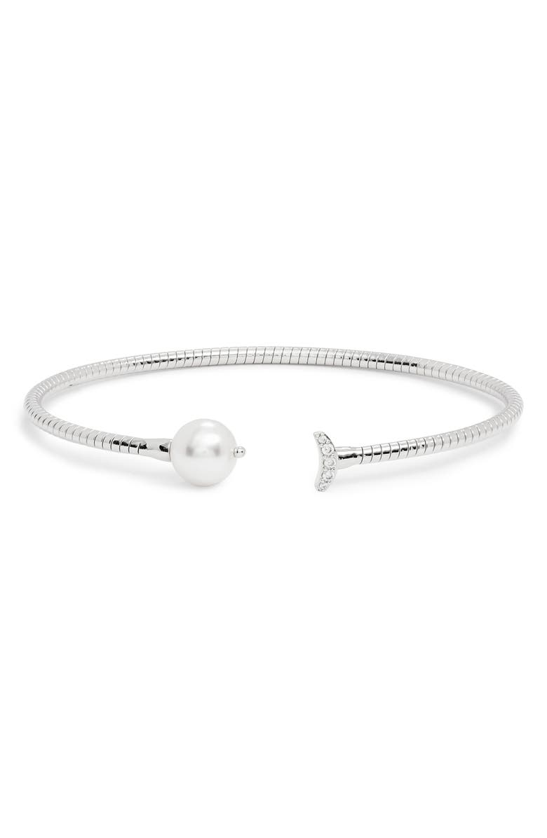 NADRI Imitation Pearl & Cubic Zirconia Flexi Cuff Bracelet, Main, color, SILVER