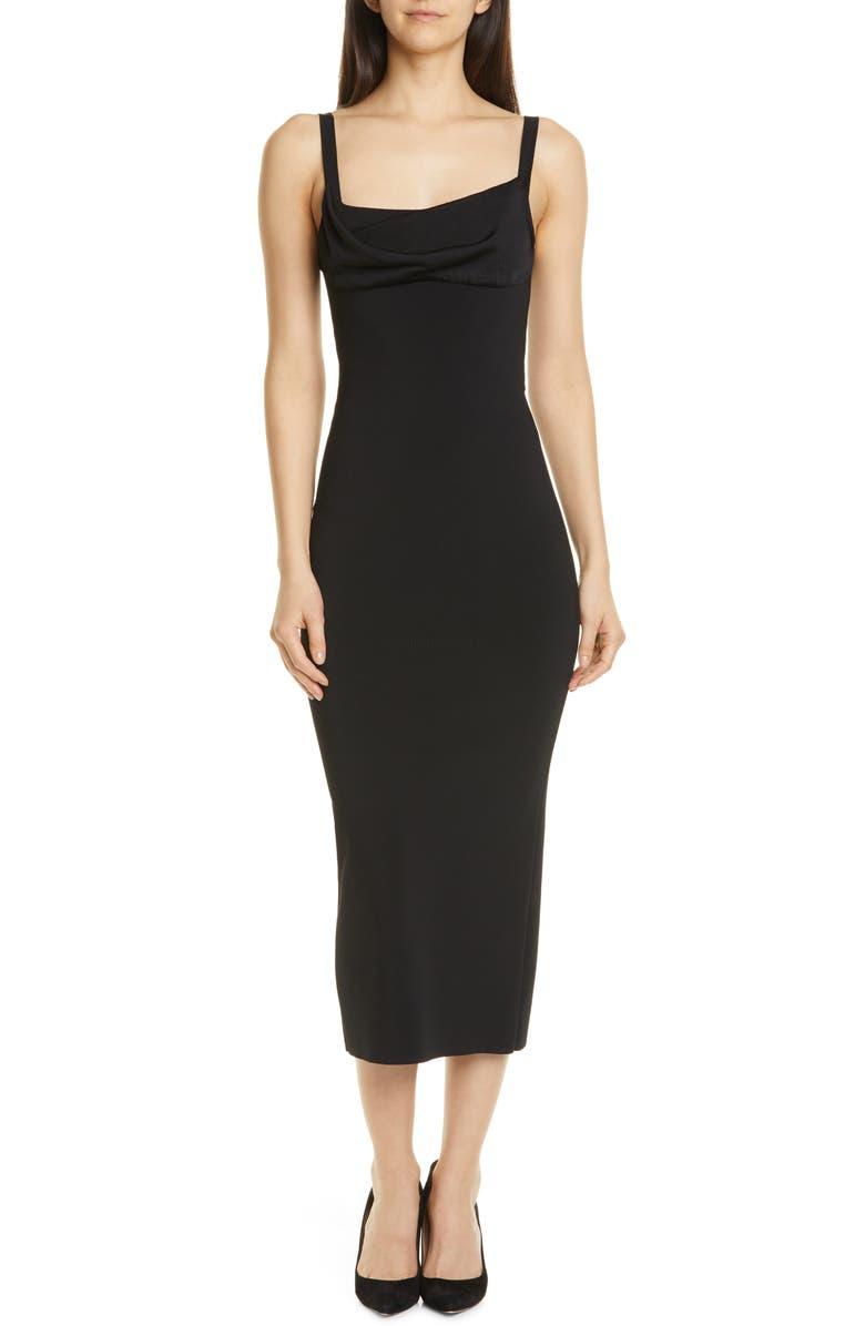 THEORY Cowl Neck Midi Dress, Main, color, 001
