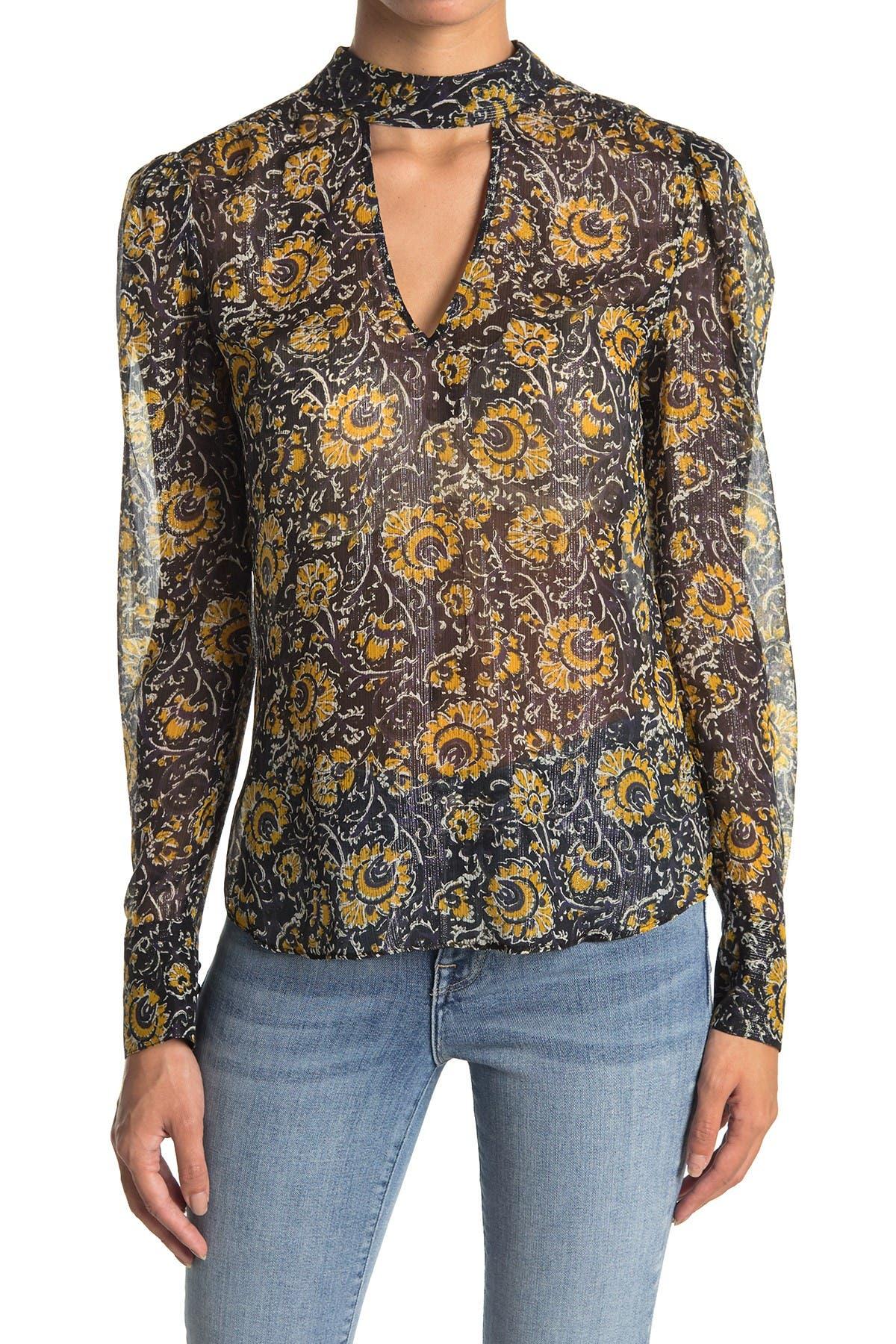 Image of VERONICA BEARD Wade Paisley Silk Blend Keyhole Blouse