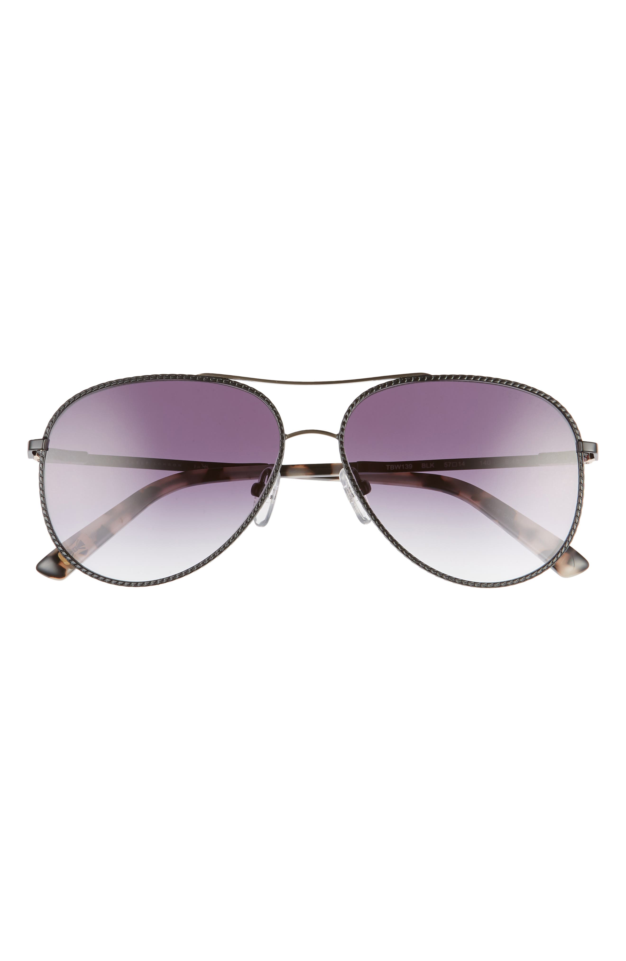 A textured frame is fitted with gradient CR-39 lenses on sunglasses featuring an always-chic aviator silhouette. Style Name: Ted Baker London 57mm Aviator Sunglasses. Style Number: 5987434. Available in stores.