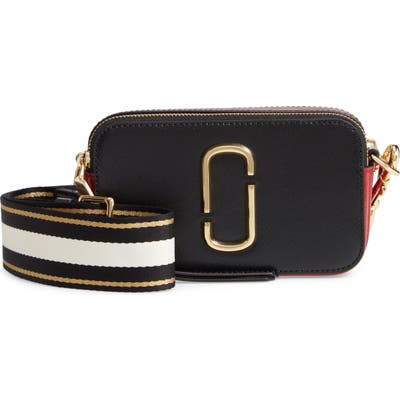 The Marc Jacobs The Snapshot Leather Crossbody Bag - Black