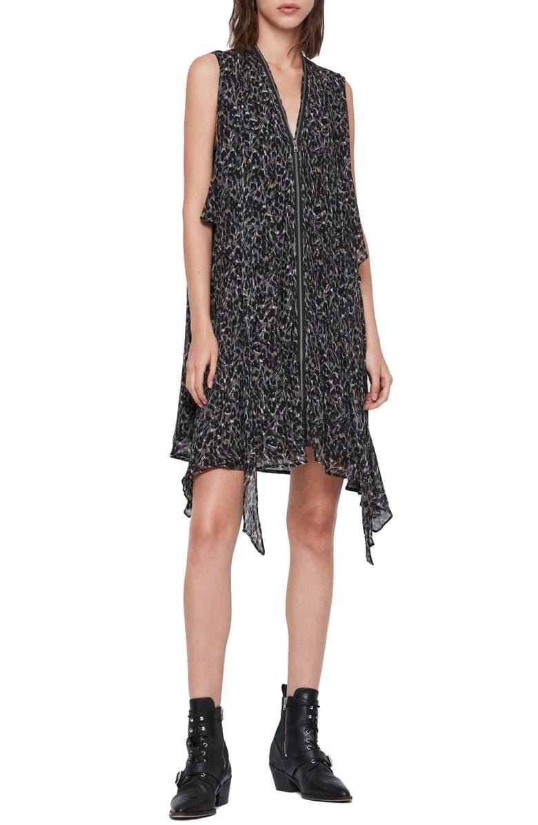 ALLSAINTS Jayda Waterleo Exposed Zip Sleeveless Silk Dress, Main, color, KHAKI GREEN