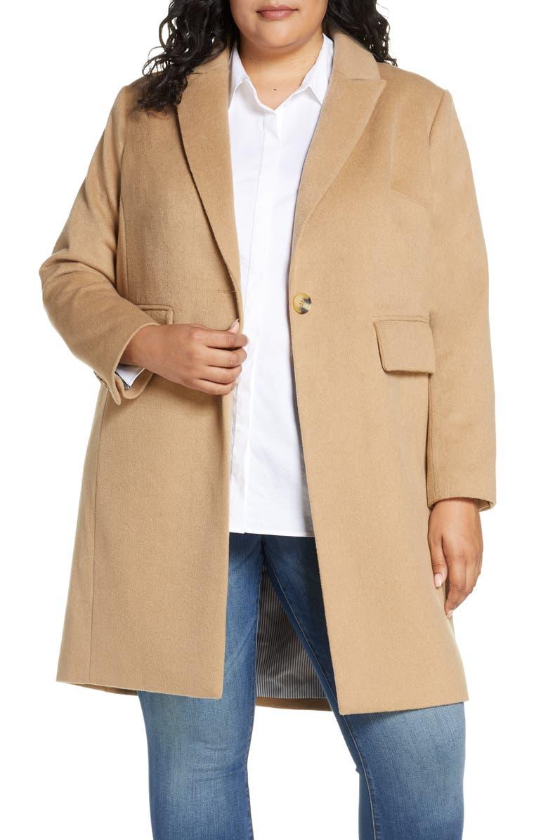 COURT & ROWE One-Button Plush Topper Coat, Main, color, TRUE CAMEL