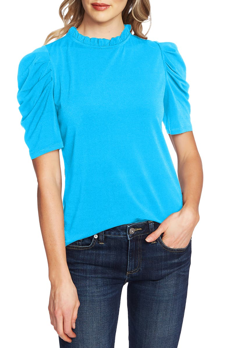 CECE Puff Sleeve Crepe Top, Main, color, CERULEAN