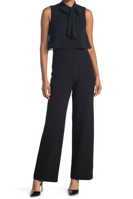 Image of Calvin Klein Tie Neck Sleeveless Wide Leg Jumpsuit
