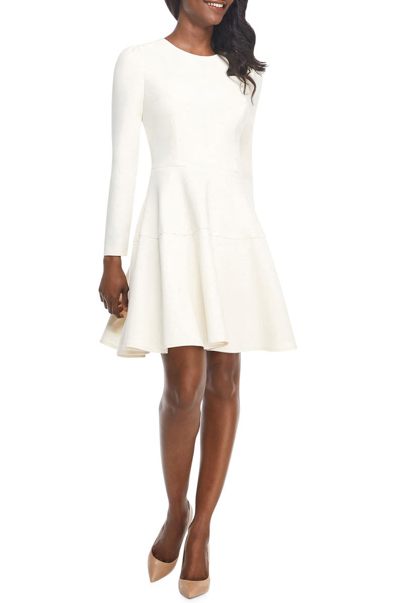 GAL MEETS GLAM COLLECTION Celeste Fit & Flare Dress, Main, color, CREAM