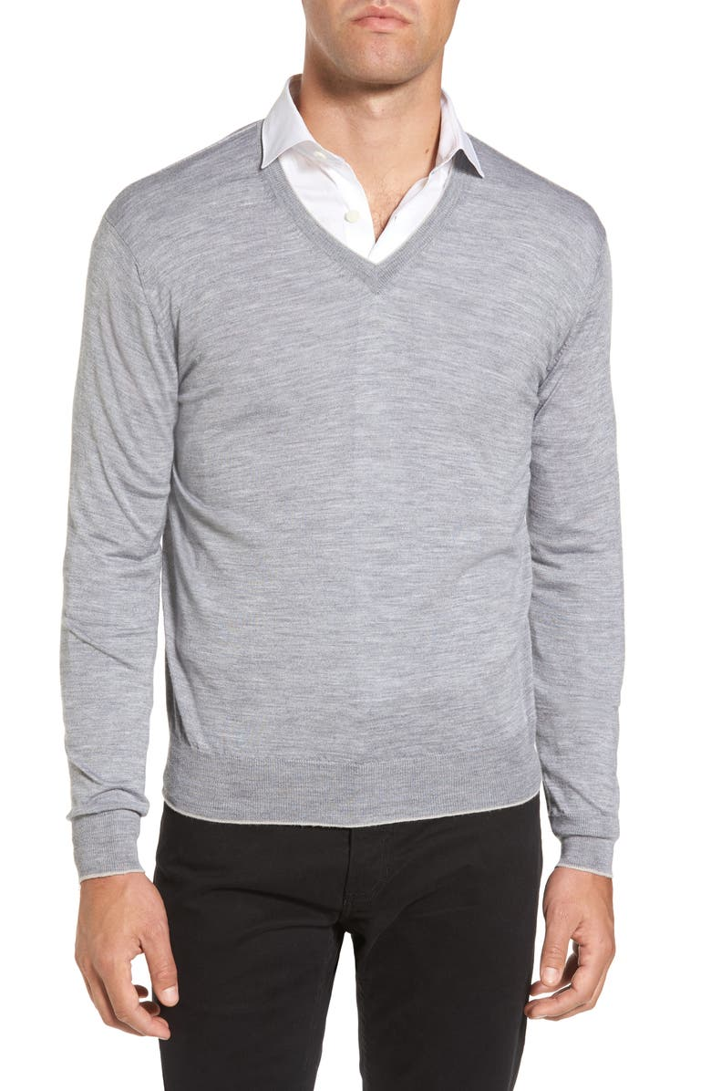 ELEVENTY Merino Wool & Silk Tipped Sweater, Main, color, LIGHT GREY