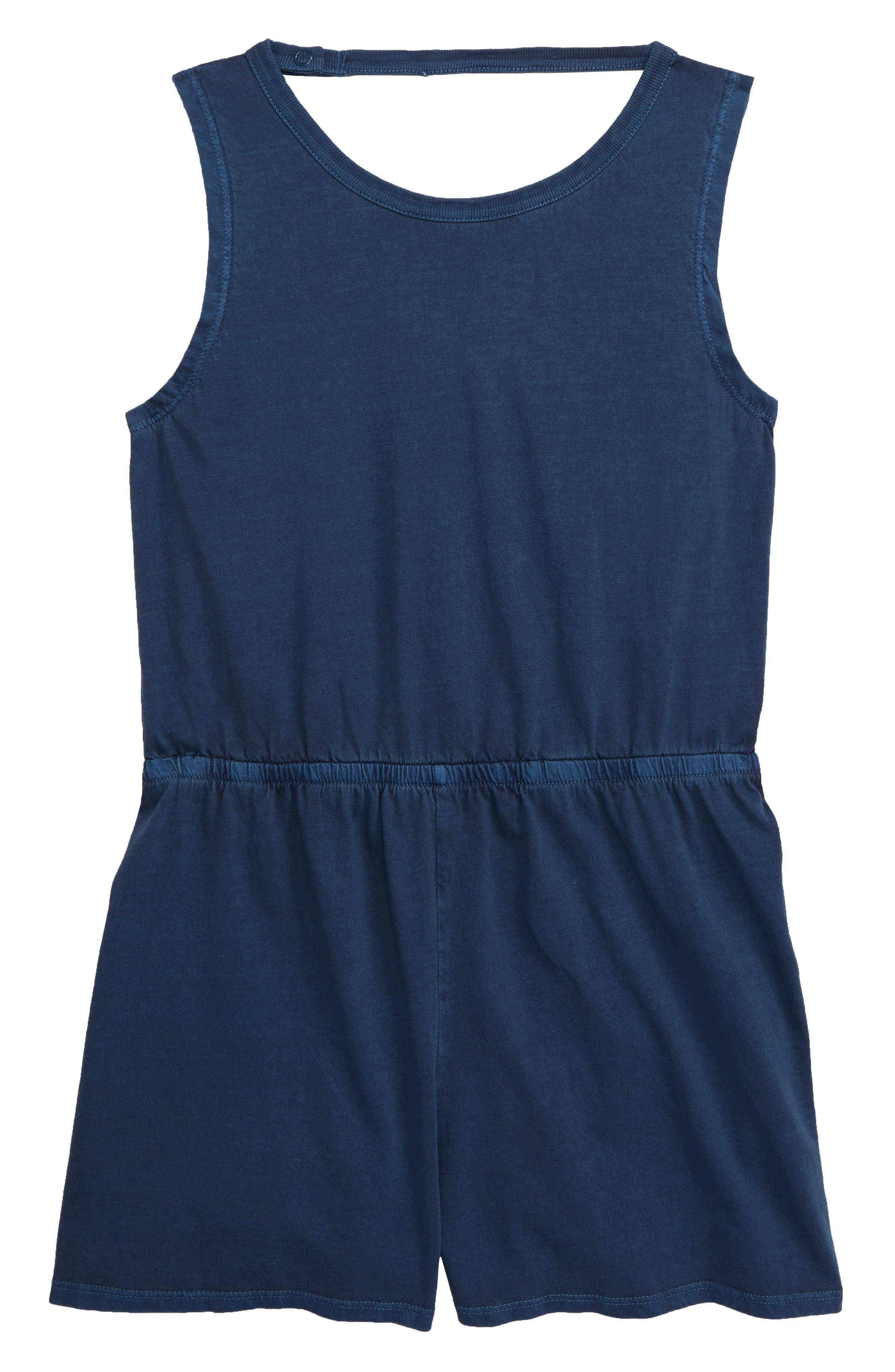 ,                             Tie Back Knit Romper,                             Main thumbnail 1, color,                             BLUE WING